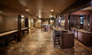 acid stained decorative concrete basement floor