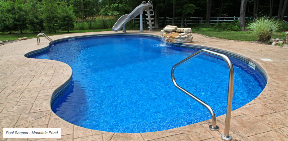 decorative concrete pool deck with fountain features