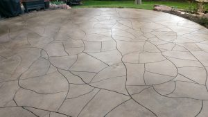 backyard decorative concrete patio finished