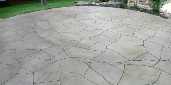 Decorative concrete patio with custom lines carved