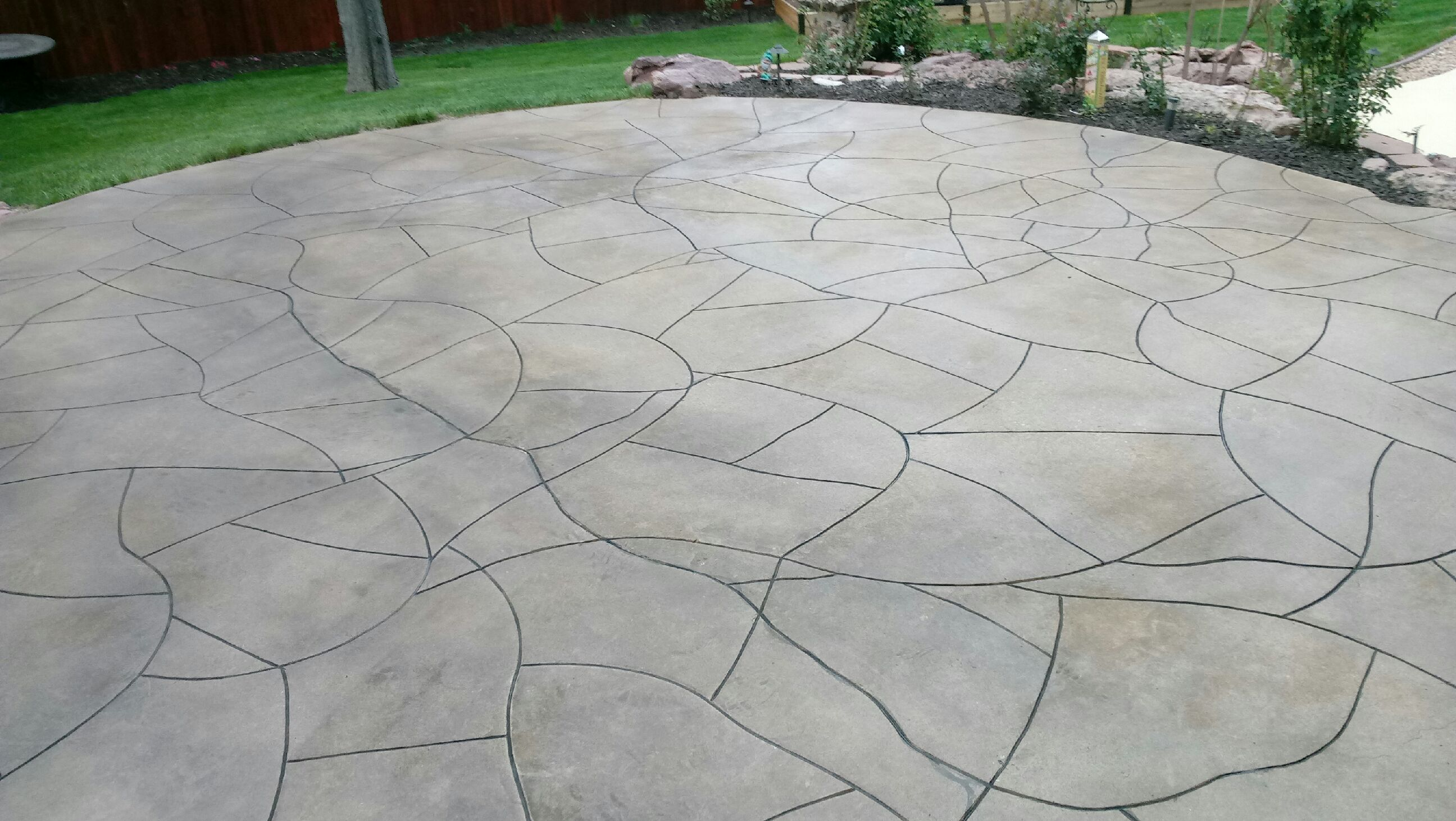Genial Decorative Concrete Patio With Custom Lines Carved
