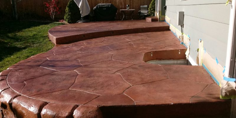Decorative backyard concrete Patio - After 2